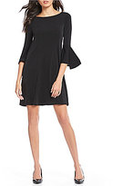 Jones New York Knit Crepe Bell Sleeve A-Line Dress