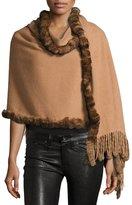 Neiman Marcus Rabbit Fur-Trim Wool Wrap, Camel/Dark Camel