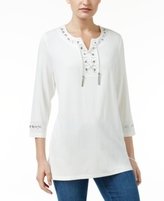 JM Collection Petite Embellished Lace-Up Tunic, Created for Macy's