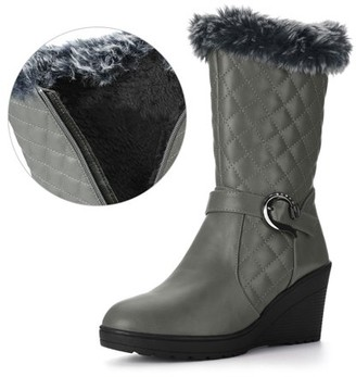 Unique Bargains Womens Buckled Strap Plush Quilted Wedge Heel Mid-Calf Boots Gray 7 B(M) US