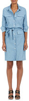 Barneys New York WOMEN'S BELTED COTTON-LINEN CHAMBRAY DRESS