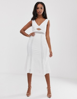 Asos Design DESIGN lace insert cut out skater midi dress-White