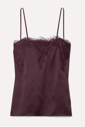 CAMI NYC The Sweetheart Lace-trimmed Silk-charmeuse Camisole - Grape