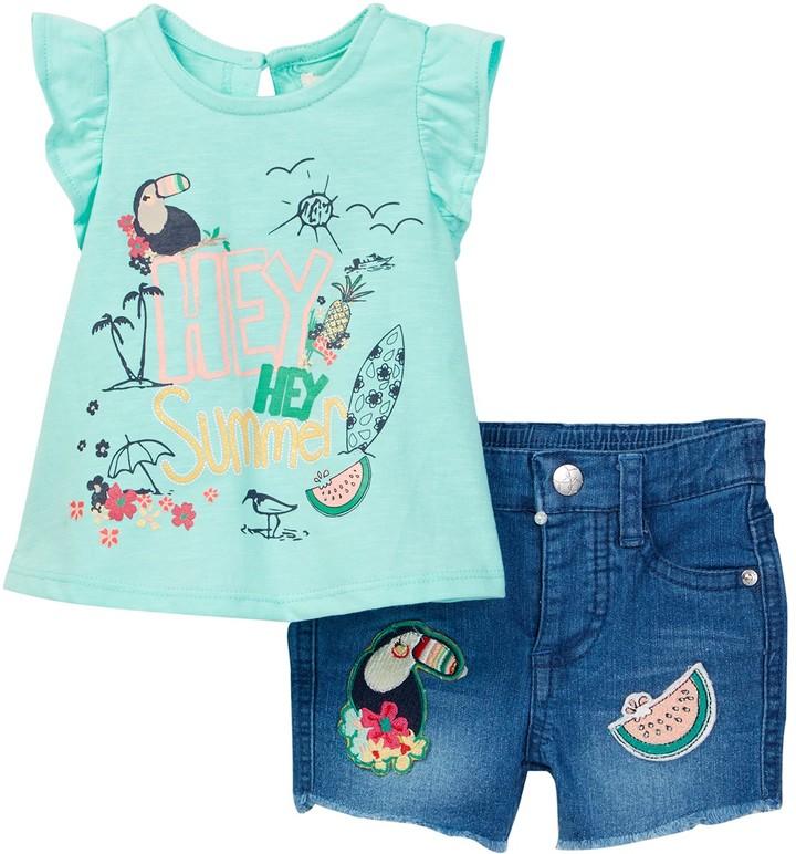 Jessica Simpson Slub Jersey Tee & Embroidered Short Set (Baby Girls)