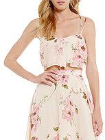 Lucy Paris Mia Floral Tie Front Crop Top