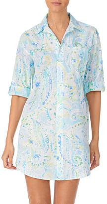 Lauren Ralph Lauren Paisley Knit His Shirt Sleepshirt