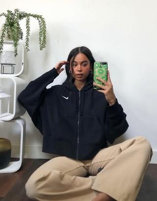 Nike mini swoosh oversized cropped black zip through hoodie