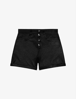 Maje Irine high-waist leather shorts