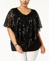 NY Collection Plus Size Sequined Capelet Top