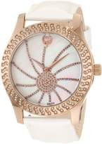 Brillier Women's 03-52424-11 Kalypso Bronze-Plated White Leather Watch