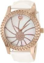 Brillier Women's 03-52424-11 Kalypso Bronze-Plated White Leather Watch