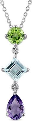 Delmar Sterling Silver Amethyst Peridot Blue Topaz Drop Pendant Necklace