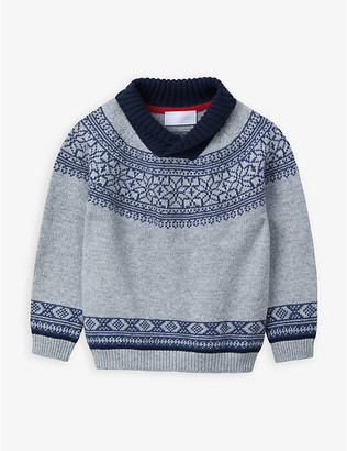 The Little White Company Fair Isle knitted cotton-blend jumper 1-6 years