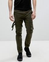 Asos Skinny Pants With Pocket Details In Khaki