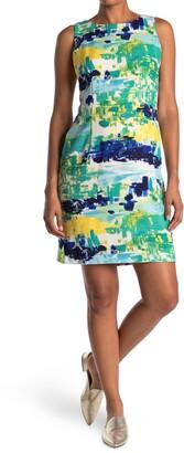 Sandra Darren Abstract Print Sleeveless Sheath Dress