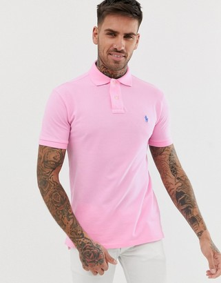 Polo Ralph Lauren slim fit pique polo in light pink