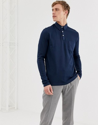 Selected long sleeve polo shirt with chest pocket-Navy