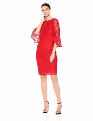 Gabby Skye Women's Bell Sleeve Midi Lace Sheath Dress