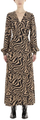 Ganni Tiger Swirl Print Wrap Maxi Dress