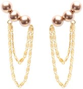 Wouters & Hendrix Women's Yellow Gold Plated 925 Sterling Silver Pearl With Chains Earrings