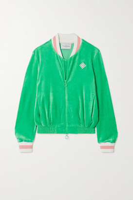 Casablanca Appliqued Velour Bomber Jacket - Green