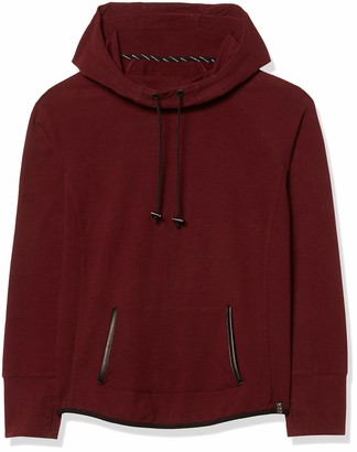 Andrew Marc Women's Funnel Neck Hooded Sweatshirt with Pu Leather Trim