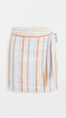 Plush Striped Mini Wrap Skirt