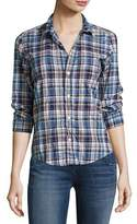 Frank And Eileen Barry Washed Plaid Cotton Shirt, Blue Pattern