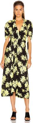 Proenza Schouler Splatter Floral Tie Dress in Yellow & Black | FWRD