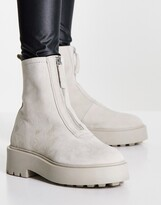 Thumbnail for your product : ASOS DESIGN Ava leather front zip boots in taupe suede