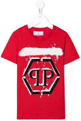 Philipp Plein Junior rhinestone monogram T-shirt