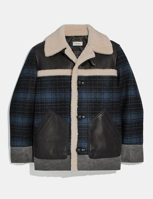 Coach Shearling And Plaid Jacket