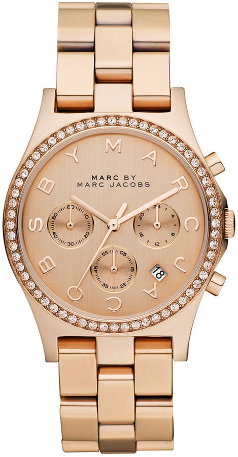 Marc by Marc Jacobs Watch, Women's Chronograph Henry Rose Gold Ion Plated Stainless Steel Bracelet 40mm MBM3118