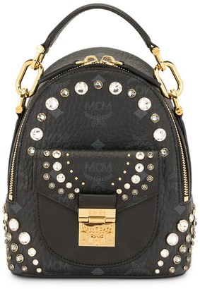 MCM Crystal-Embellished Monogram-Print Backpack