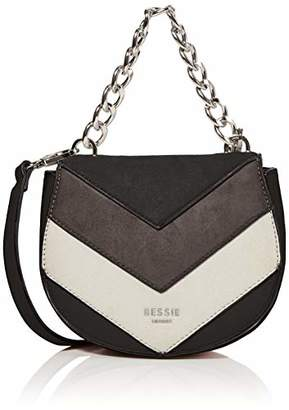 BESSIE LONDON Womens Ring Chain Handle Colour Block Suede Cross-Body Bag
