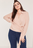 Missguided Plus Size Wrap Tie Side Blouse Nude