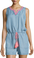 Neiman Marcus Embroidered Chambray Short Jumpsuit, Soft Denim Blue