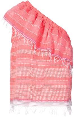 Lemlem frayed one shoulder blouse