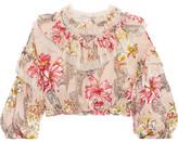Philosophy di Lorenzo Serafini - Cropped Ruffled Floral-print Cotton And Silk-blend Top - Cream
