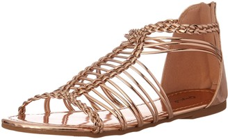 Qupid Women's Caged Sandal Flat
