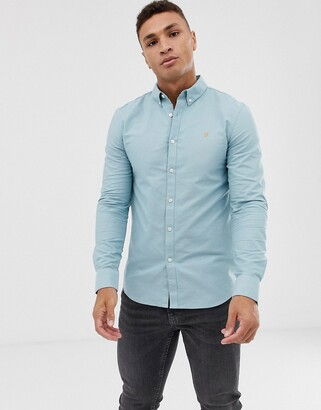 Farah Brewer slim fit oxford shirt in blue