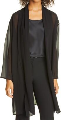 Eileen Fisher Long Open Front Tencel Lyocell Jacket