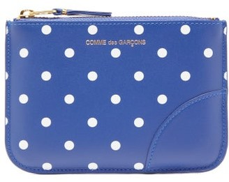 Comme des Garcons Polka-dot Leather Coin Purse - Womens - Navy Multi