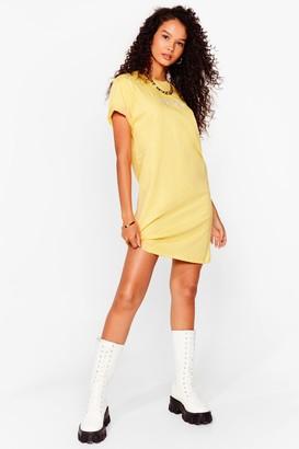Nasty Gal Womens everyday Sunday embroidered t shirt dressa - Lemon
