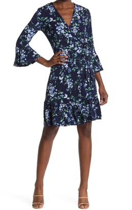 Robbie Bee Floral Bell Sleeve Wrap Dress