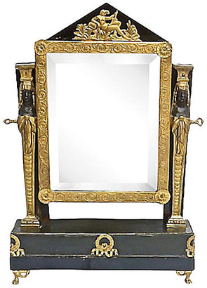 One Kings Lane Vintage Antique French Empire Vanity Mirror - Vermilion Designs - gold/bronze/brass/brown