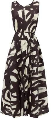 Pleats Please Issey Miyake Brushstroke-print Pleated Trapeze Dress - Womens - Black White
