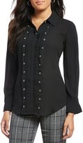 Investments Petites Long Sleeve Button Front Grommet Blouse