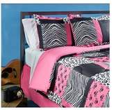 Sassy Teen Pink Zebra Bedding. 4 Piece Pink Black and White Bed in a Bag Full Size Set Is Perfect for a Teenage Girl Bedroom. Mini Skull, Zebra, Cheetah Print Patchwork Design. Comforter Blanket Set