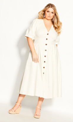 City Chic Sunset Stroll Dress - ivory